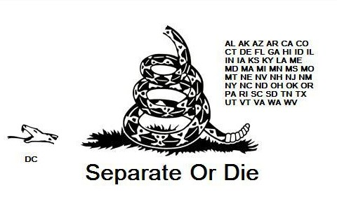SECESSION - Separate or Die (head, the federal government, is chopped off)