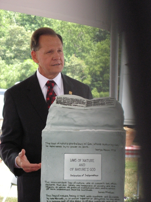 JUDGE ROY MOORE - with his statue
