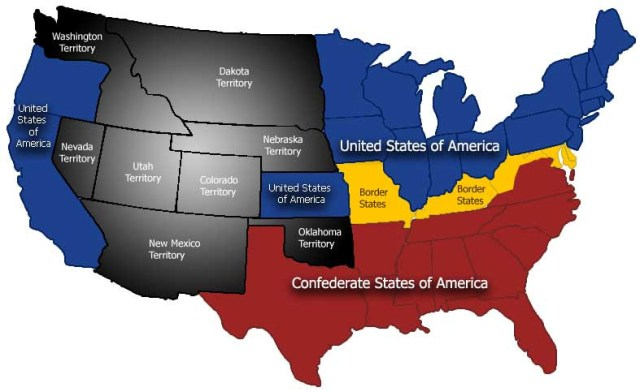 SECESSION - Map of North America after Confederacy was formed