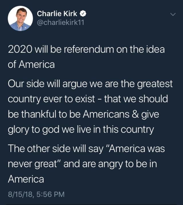 CHARLIE KIRK TWEET - Andrew Cuomo (America Was Never Great)