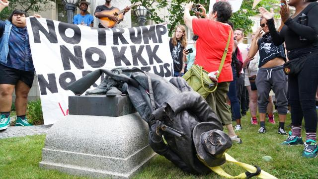 CONFEDERATE MONMENT - toppled (old Durham courthouse, No Trump, No KKK)